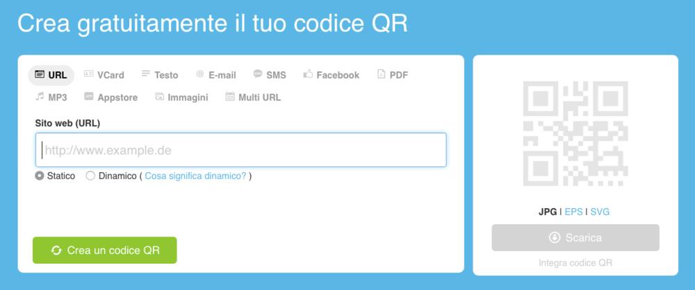Uno degli strumenti per generare codici QR che rimandano al tuo sito o alla tua mail, o dove vuoi tu.