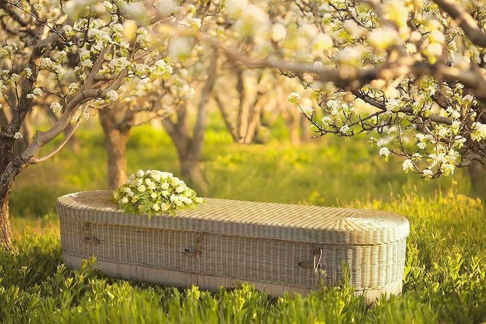 Eco bara ovale in vimini (risparmio ed eleganza). Un funerale costa tantissimo, procurati una bara ecologica ed economica. 447€