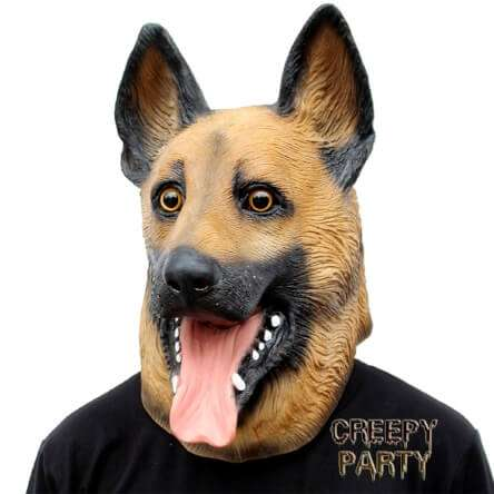 Testa di cane. Vai in giro o a una festa con la testa di cane in silicone e NON passerai inosservato! Prova anche a vedere che faccia fa il tuo cane quando indossi la maschera!