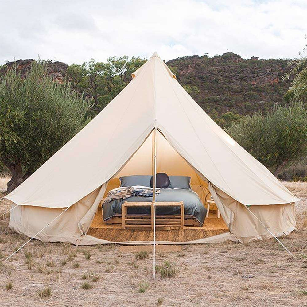 Glamping Tenda  in tela  ignifuga impermeabile per 3-12 Persone, Facile da Installare