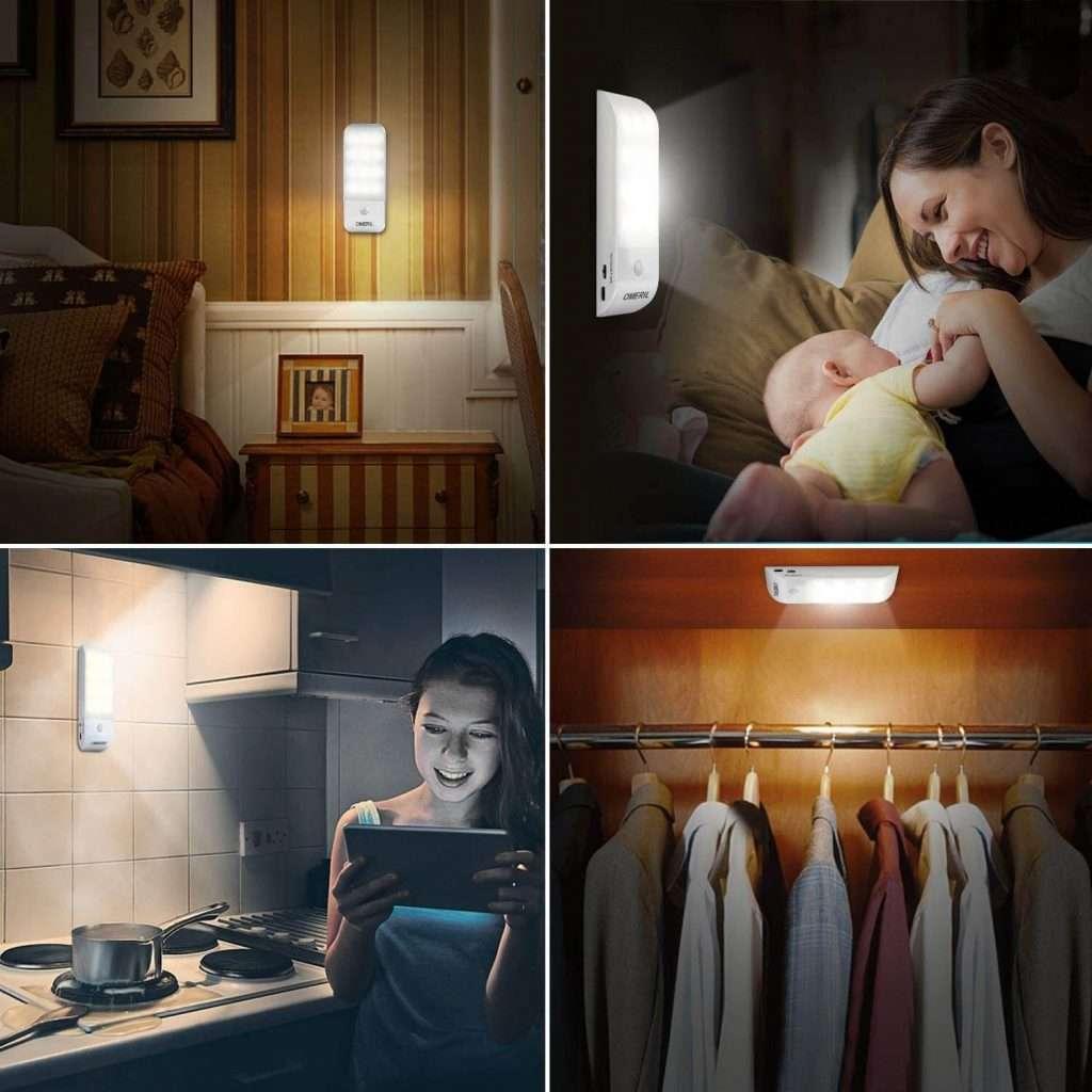 Luce Notte LED [2 Pezzi] Lampada Guardaroba con Sensore Movimento